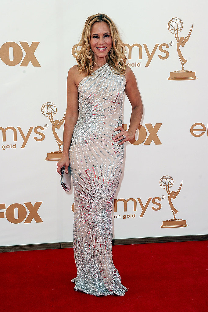 Maria Bello wears white to the Emmys.