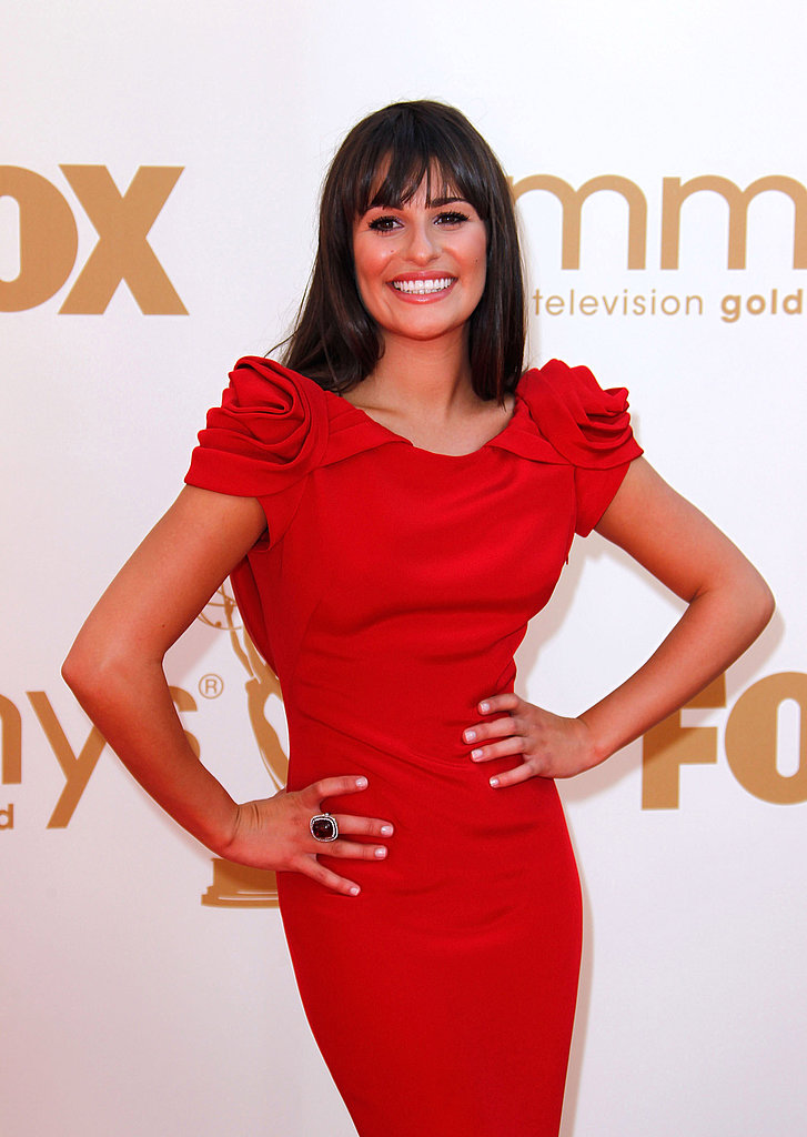 Lea Michele Wears Red Marchesa For the Primetime Emmys