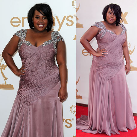 Pictures of Glee Star Amber Riley on the red carpet at the 2011 Emmy Awards