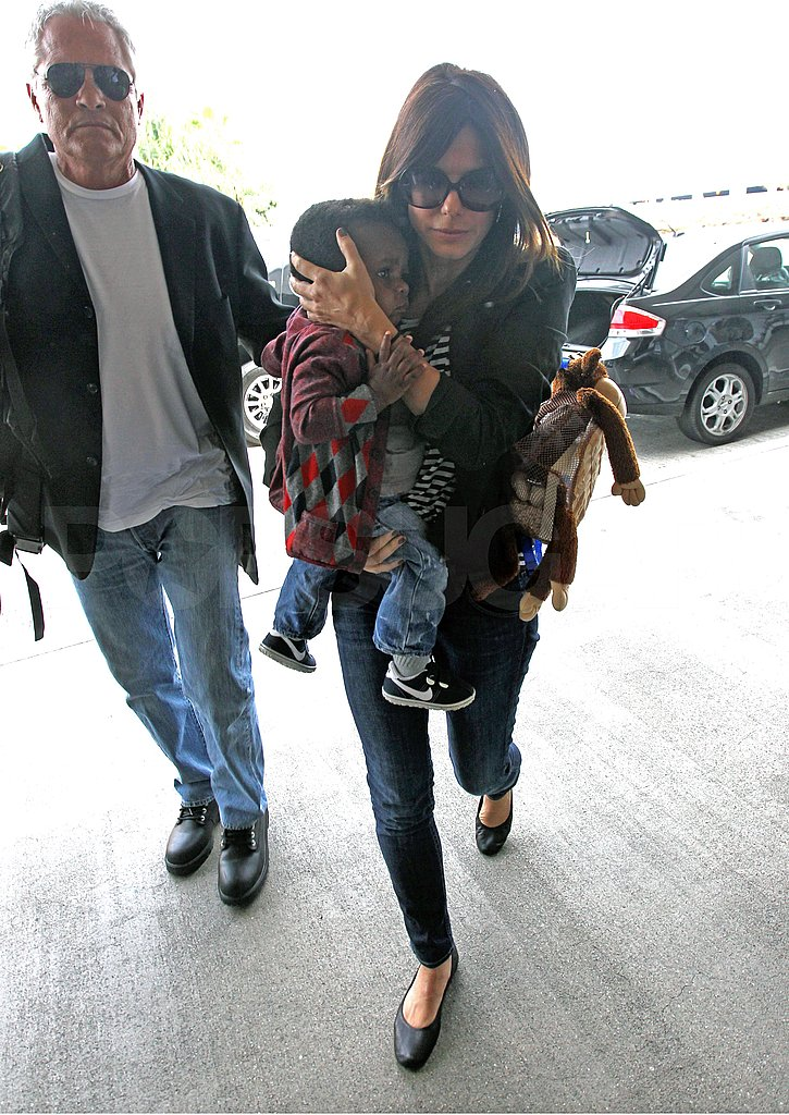 Sandra Bullock and Louis Bullock arrived at LAX.