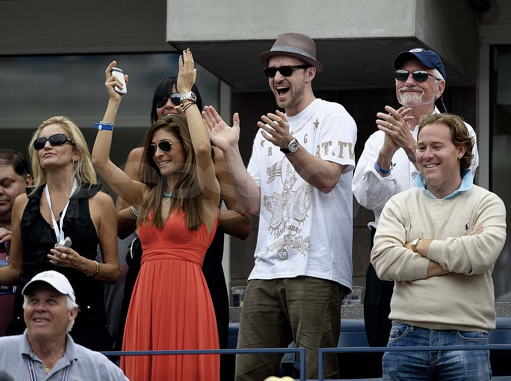 Justin Timberlake cheers at the US Open.