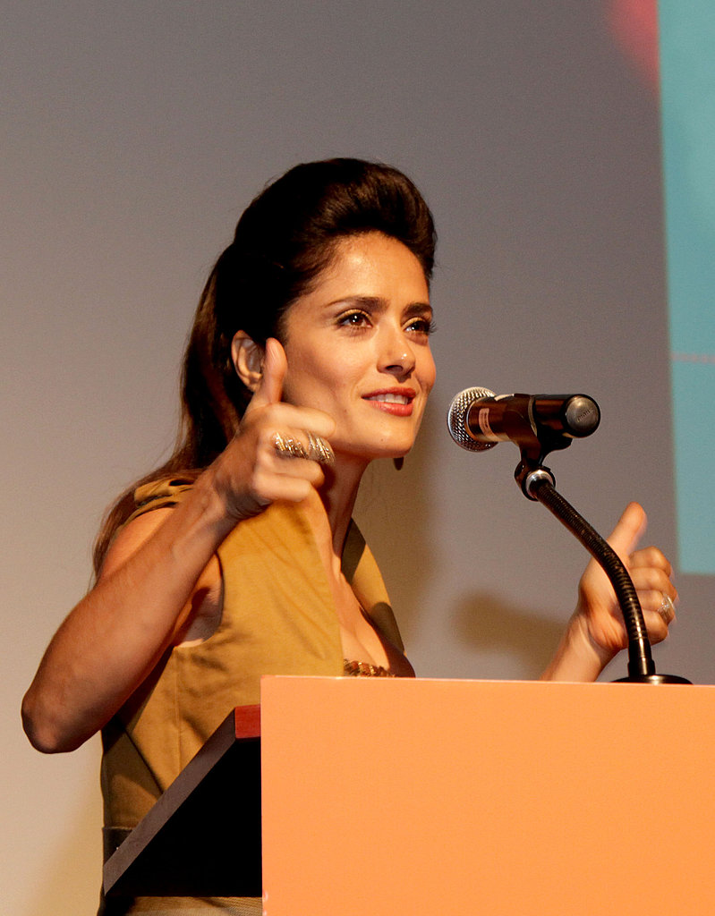 Salma Hayek took to the podium prior to her Americano screening.