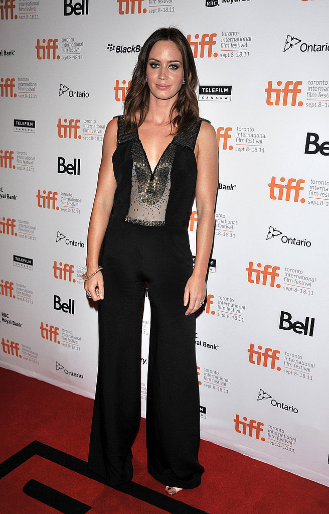Emily Blunt donned an embellished black jumpsuit for Salmon Fishing in Yemen.