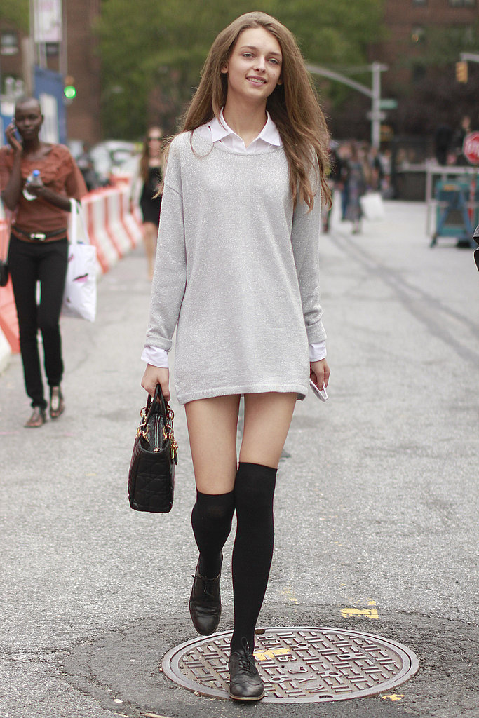 Over-the-knee socks amp up the preppy vibe.