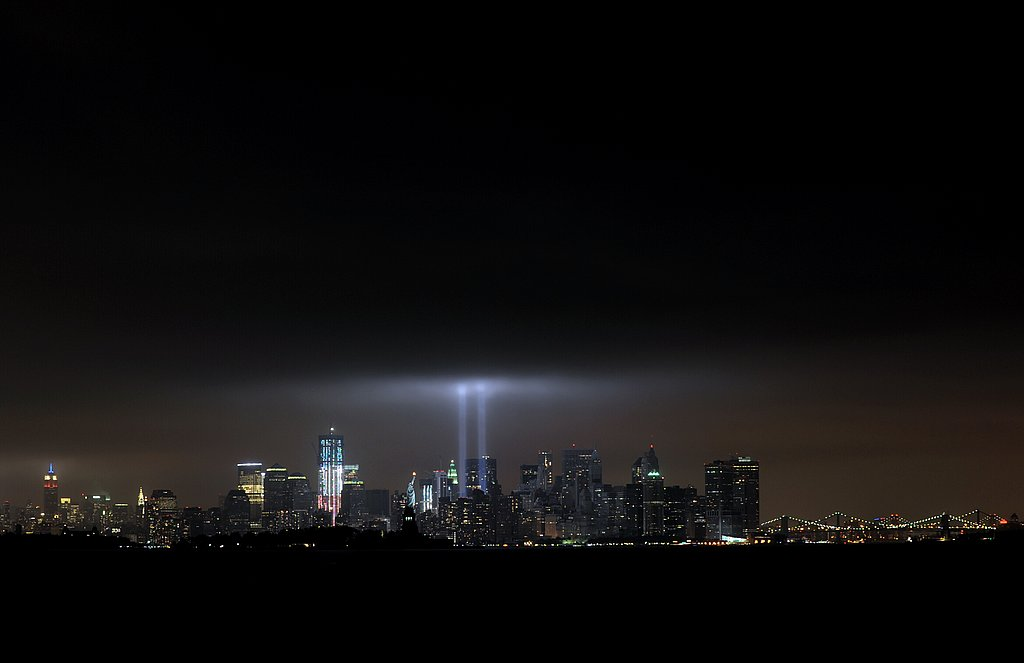 The annual Tribute in Light memorial lights the sky above NYC exactly 10 years after the 9/11 terrorist attacks.
