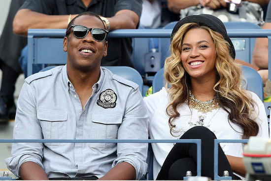 Jay-Z and Beyoncé Knowles watching Nadal versus Djokovic.