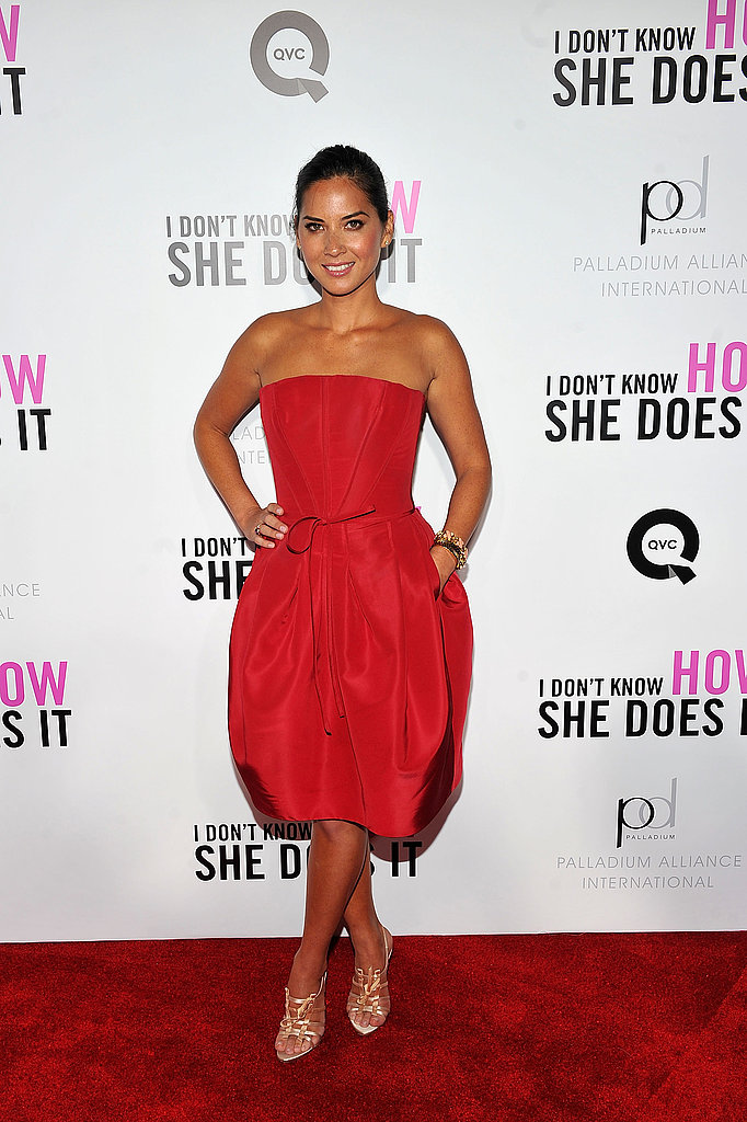 Olivia Munn matched her dress to the red carpet.