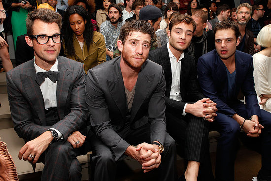 Brad Goreski, Bryan Greenberg, Ed Westwick, and Sebastian Stan attend the Simon Spurr Spring 2012 fashion show during Mercedes-Benz Fashion Week at Milk Studios.