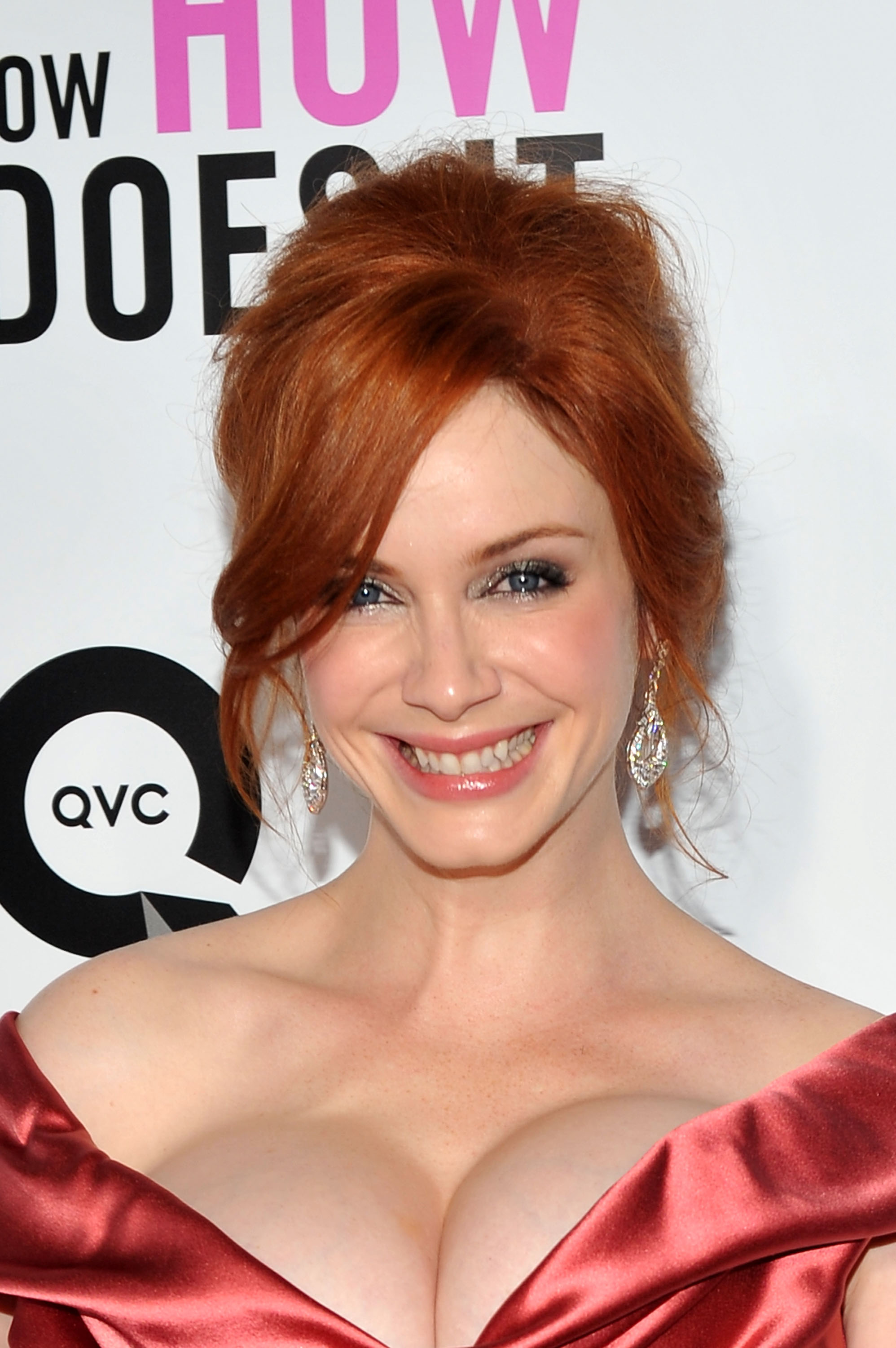 Christina Hendricks showed off her décolletage in a shoulder-baring dress.
