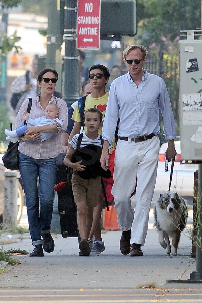 Jennifer Connelly, Paul Bettany, and Agnes Bettany walked Kai Dugan and Stellan Bettany to school.