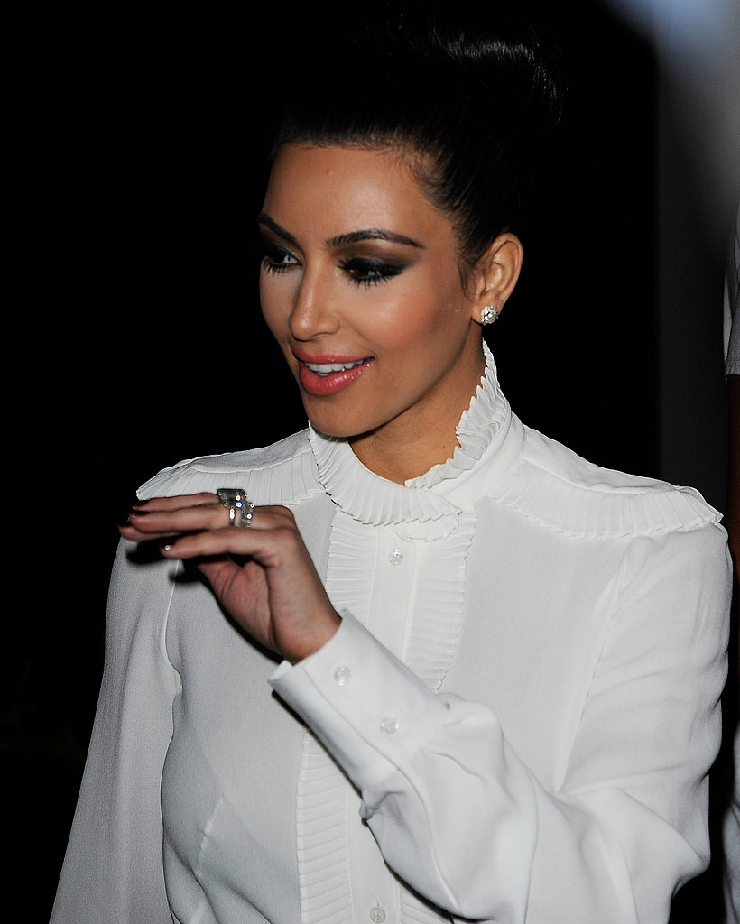 Kim Kardashian attends the New York Fashion Week Abbey Dawn show.