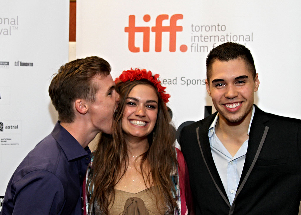 Actors Tyler Johnston, Julia Maxwell, and Jaren Brandt Bartlett goof off during the premiere of The Odds.