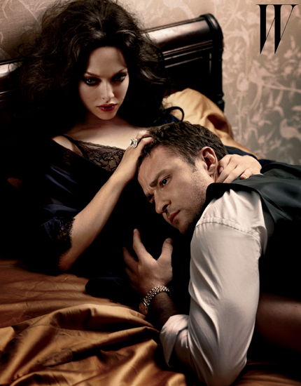 Amanda Seyfried plays the mistress to Justin Timberlake's politician in W magazine's October 2011 issue.