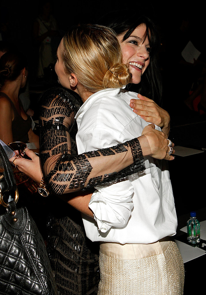 Ashley greeted Selma Blair with a hug.