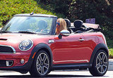 Blake drove around the set in a red Mini Cooper.