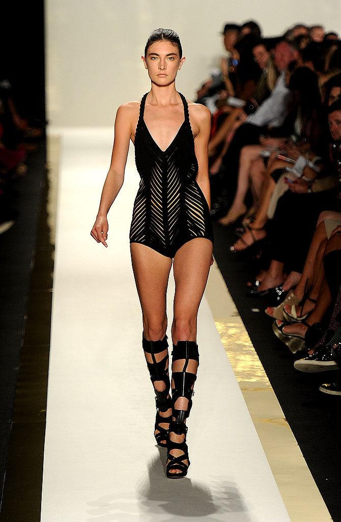 Sexy suits with textural weaving and cutouts were showcased at Herve Leger.