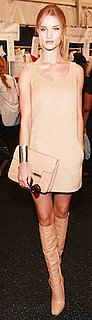 Rosie Huntington-Whiteley in Michael Kors Nude Dress, Boots