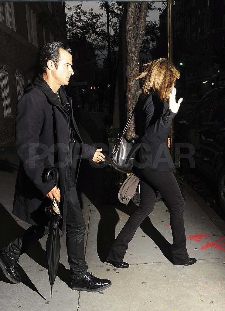 Jennifer Aniston and Justin Theroux Are All Smiles in Matching Outfits