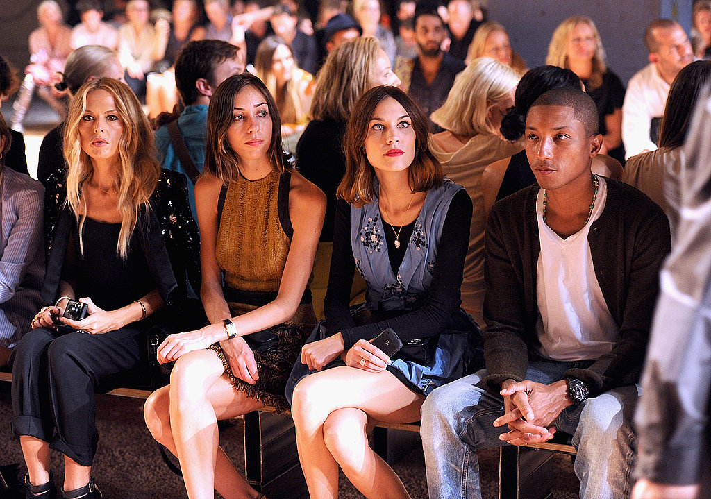 Zoe Saldana, Gia Coppola, Alexa Chung, and Pharrell Williams sat front row at Proenza Schouler.