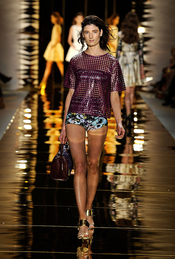 Cynthia Rowley showed off modern sexiness with laser cuts and printed hot pants.