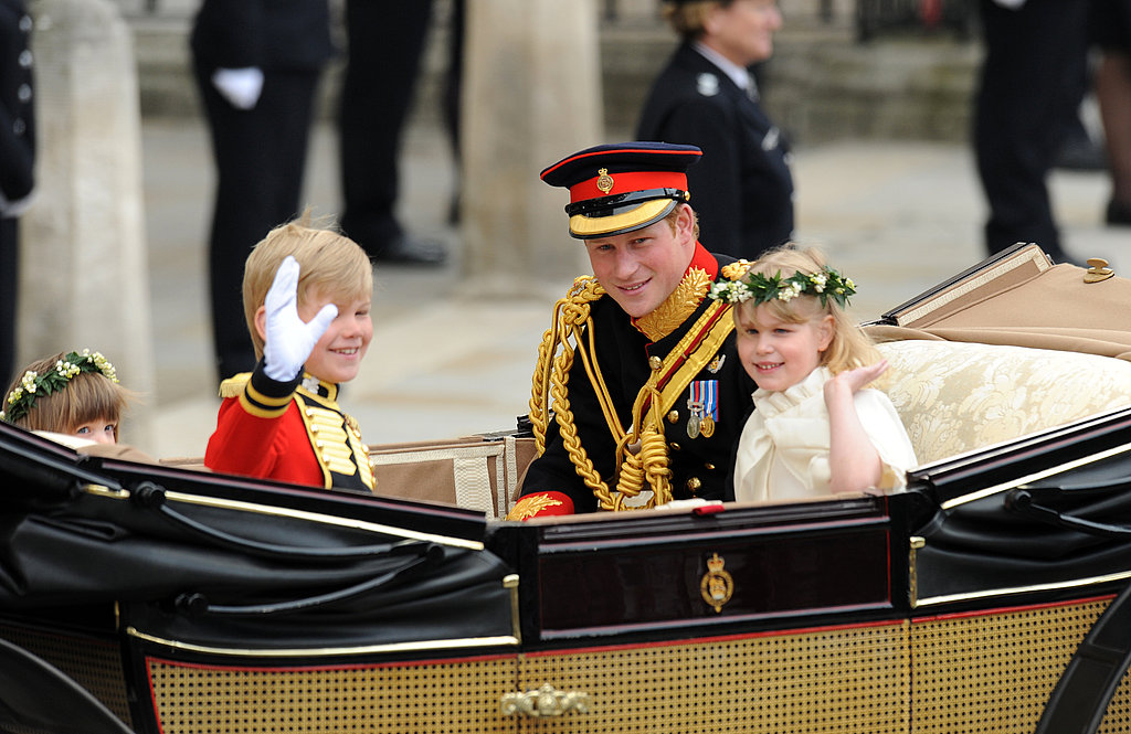 Prince Harry travels with two young bridesmaids and a page boy at the royal wedding of his brother, Prince William, and Kate Middleton in April.