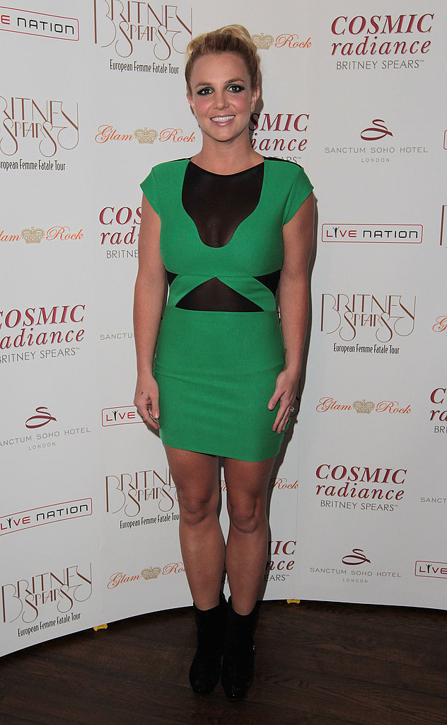 Britney Spears in green at her UK tour launch party.