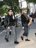 Jennifer Aniston and Justin Theroux eat in the West Village.
