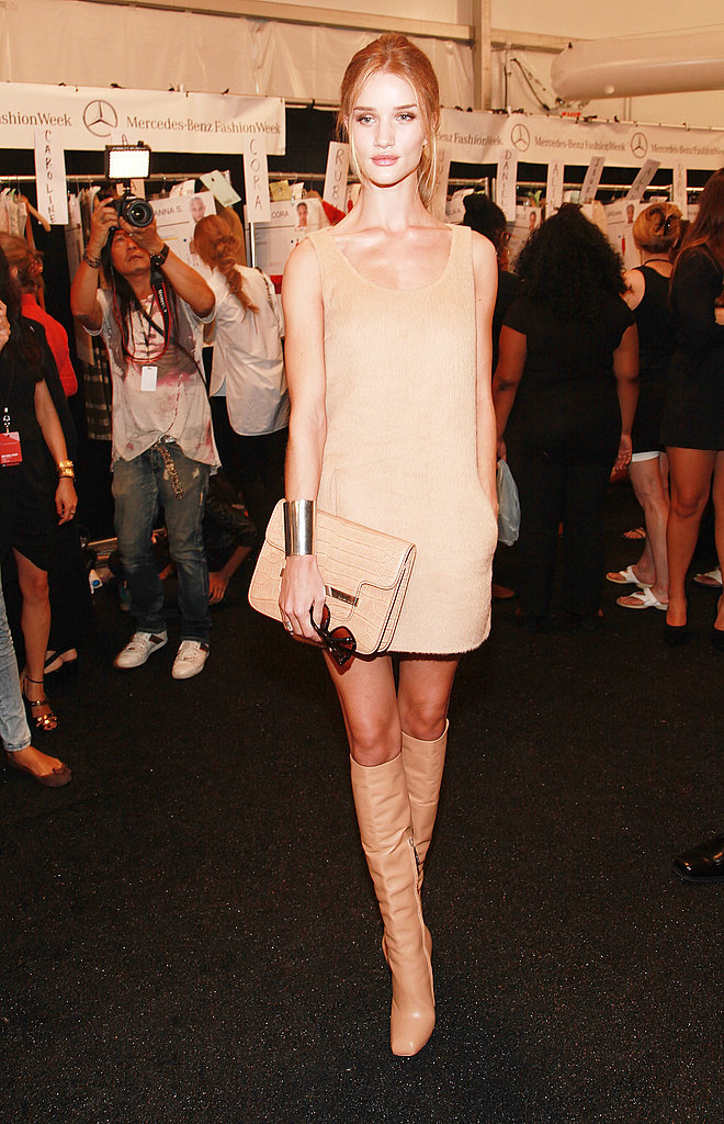 Rosie Huntington-Whiteley looked gorgeous in neutral hues at Michael Kors.