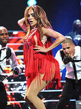 J Lo's body looked fantastic in a sexy, red costume.