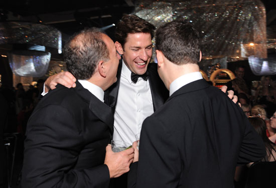 John Krasinski shared laughs with guests at the Governors Ball.
