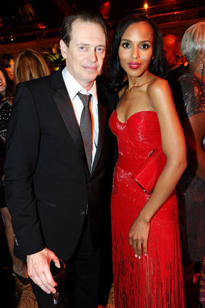 Best actor in a drama nominee Steve Buscemi posed with presenter Kerry Washington at the HBO Emmy afterparty.