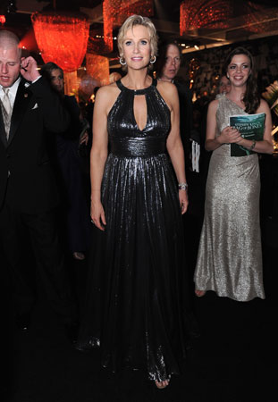 Host Jane Lynch wore one of the gowns she wore onstage to the Governors Ball.