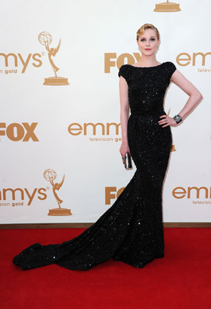 Evan Rachel Wood, who was nominated for best supporting actress in a miniseries, wore a floor-skimming black dress.