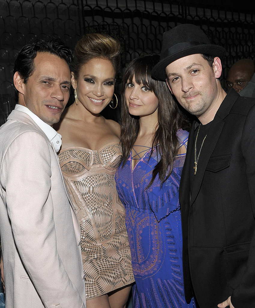 Marc Anthony and Jennifer Lopez met up with Nicole Richie and Joel Madden at L.A. Reid's post-Grammy dinner hosted by Jay-Z in January 2010.
