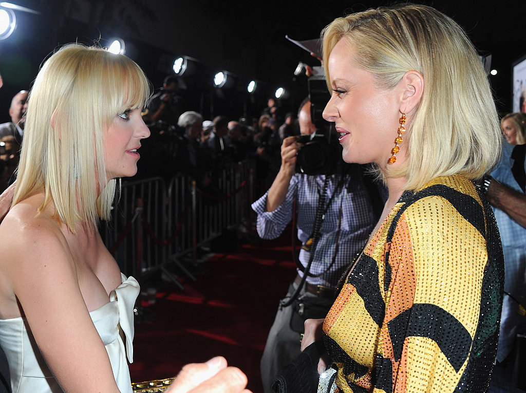 Anna Faris and Marley Shelton catch up at the LA premiere of What's Your Number.