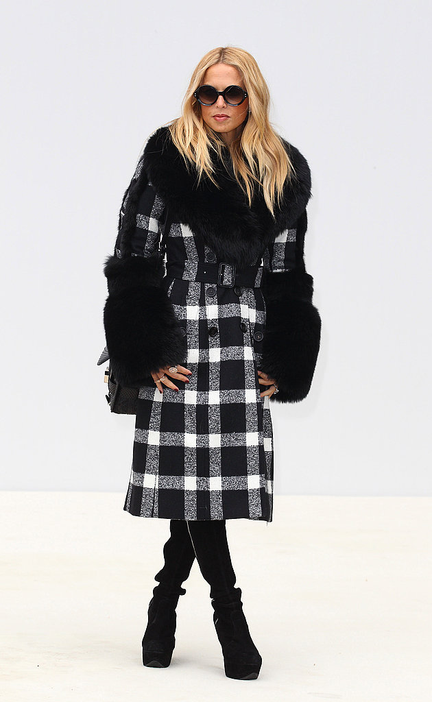 Rachel Zoe showed off the gorilla arms trend in a plaid coat at Burberry.