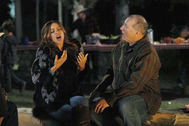 Sofia Vergara as Gloria and Ed O'Neill as Jay on Modern Family.  Photo copyright 2011 ABC, Inc.