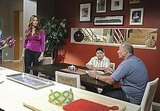 Ed O'Neill as Jay, Rico Rodriguez as Manny, and Sofia Vergara as Gloria on Modern Family.  Photo copyright 2011 ABC, Inc.