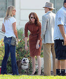 Emma Stone reached to pet a bulldog.