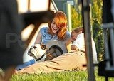 Ryan Gosling and Emma Stone were enchanted by a bulldog on The Gangster Squad set.