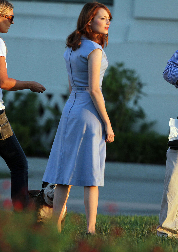 Emma Stone waited for the camera to start rolling.