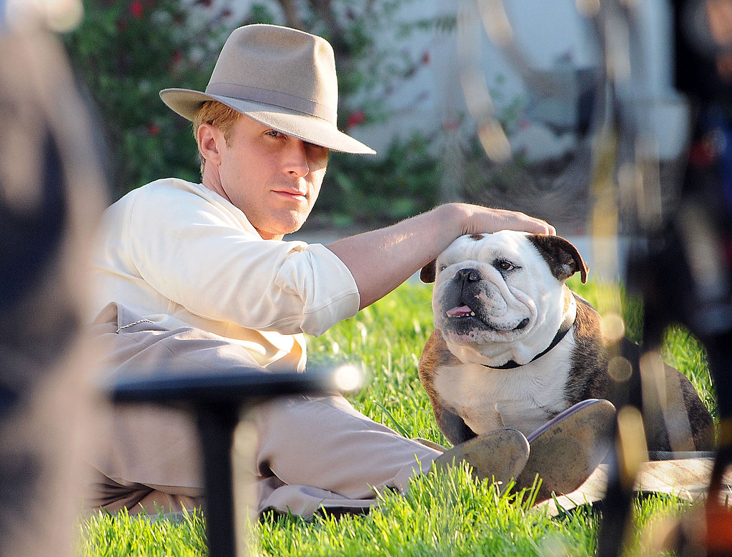 Ryan Gosling kept his hat tipped low on the set of The Gangster Squad.