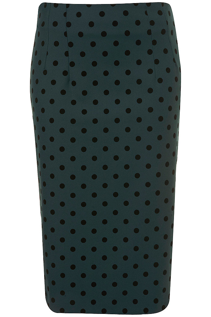 The polka-dot trend is huge this Fall, and we love this pencil for work — just pair it with a silky black blouse and stilettos and you're done. Topshop Spot Pencil Skirt ($76)