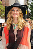 Angela Lindvall ups the boho vibe with a gorgeous, handmade gemstone statement necklace.