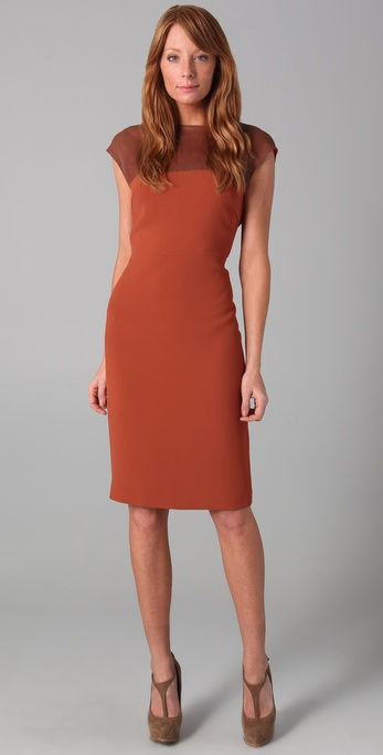 Speaking of sheath dresses, this one has leather detailing that makes it just a bit sexy, but is still perfectly appropriate for the office. Rachel Roy Sleeveless Dress With Leather Yoke (approx $530)