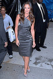 Minka Kelly outside of the Ed Sullivan Theater in NYC.