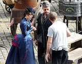Guy Ritchie chatted with Rachel and Robert between scenes.