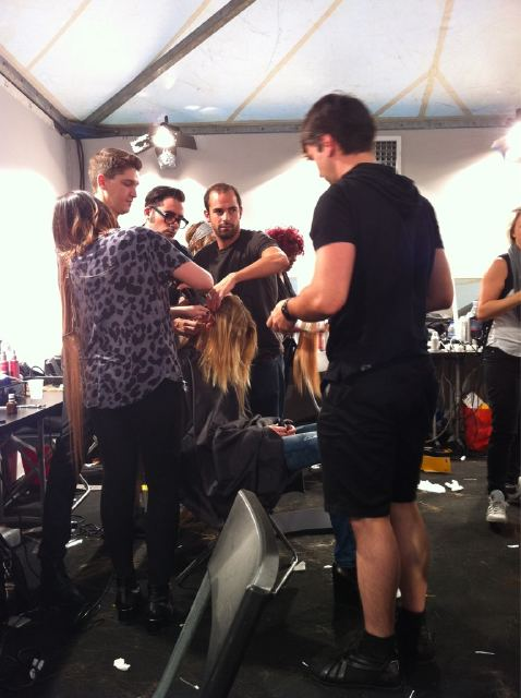 It was a mad dash to  hair and makeup backstage at Gucci after the Alberta Ferretti show. Twitter User: Allure_magazine
