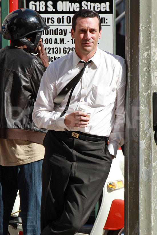 Jon Hamm in a skinny tie on the Mad Men set in LA.
