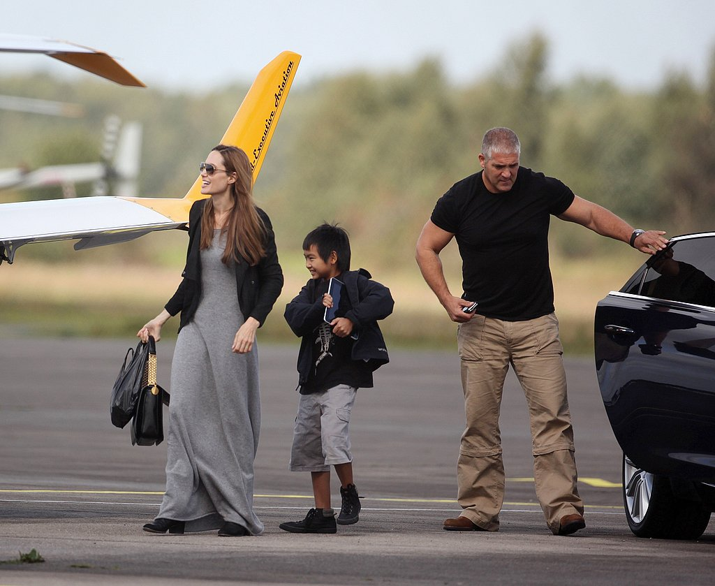 Angelina Jolie and Maddox Jolie-Pitt hanging out in England.